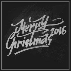 Merry Christmas greetings slogan on chalkboard. Vector illustration