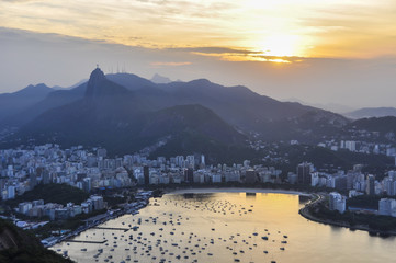 Wall Mural - Panoramic view at sunset in Rio de Janeiro, Brazil