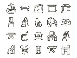 Furniture for home simple line icons set