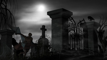 Papiers peints Cimetiere Vampire at a graveyard on a foggy night with full moon