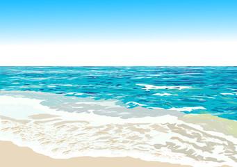 Ocean shore, beach, vector illustration