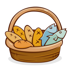 Five Bread And Two Fish in A Basket