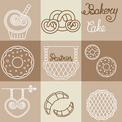 Vector bakery logos  and icons in outline style