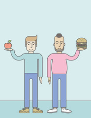 Men standing with hamburger and apple.