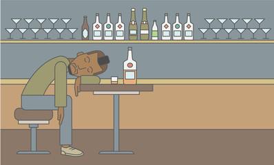 Man sleeping in bar.