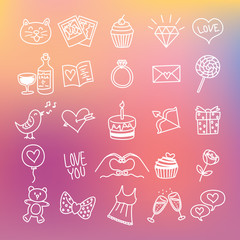 set of line icon related to valentine with blur background