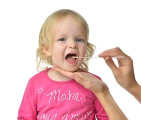 Salvia medical sample biological specimen from child baby kid mo