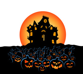 halloween pumpkins with cemetery and haunted house  with moon