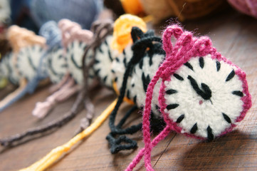 knitted clock, colorful watch, handmade hobby