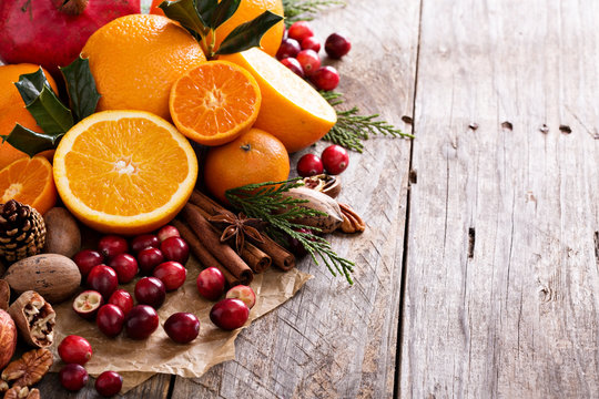 Fall and winter ingredients still life
