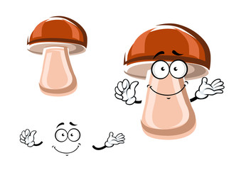 Cartoon fresh brown mushroom character