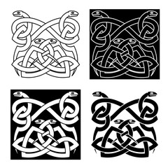 Celtic snakes knot ornaments in tribal style