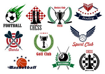 Sporting emblems, icons and symbols