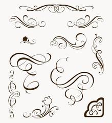 Set of calligrafic decorative elements for your design