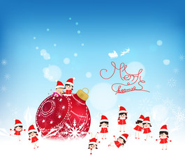 Christmas background with red bauble, kids snow and snowflakes