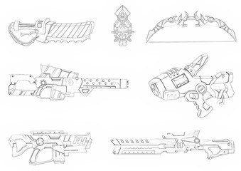 Illustration: Coloring Book Series: Boy's Favorite: Futuristic Weapon Arsenal. Soft thin line. Print it and bring it to Life with Color! Fantastic Outline / Sketch / Line Art Design.