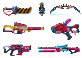 Illustration: Futuristic Weapon Arsenal with White Background. Realistic Cartoon Style. Elements / Game Asset Design.