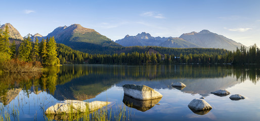 High resolution panorama of the lake in Strbske Pleso Fototapete