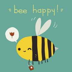 Bee happy postcard icon.