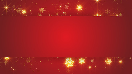 red banner and gold snowfall