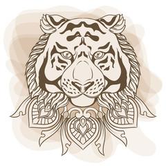 Golden tiger head with ornament mandala. Vintage hand drawn