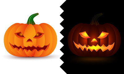 3d volumetric day and night (dark and light) Pumpkin vector icons