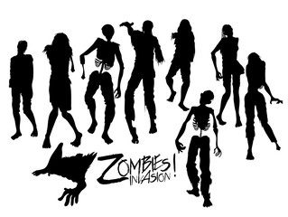 Zombie silhouettes walking forward