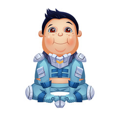 "Illustration: This Fat Boy sitting on the ground, nickname ""The King"", member of Tramp Boy Scouts, a Space Pirates Team. Character Design. Cartoon / Sci-Fi Style"