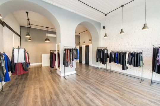 Interior of fashion clothing shop
