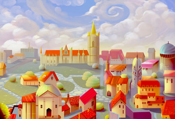 Illustration: A Beautiful Town. Realistic / Cartoon Style. Fantasy Topic. Scene / Wallpaper / Background Design.