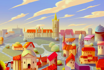 Illustration: A Beautiful Town with Different Skye. Realistic / Cartoon Style. Fantasy Topic. Scene / Wallpaper / Background Design.
