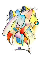 Dancing couple in abstract style