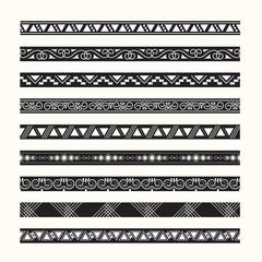 set of vintage borders lines vector