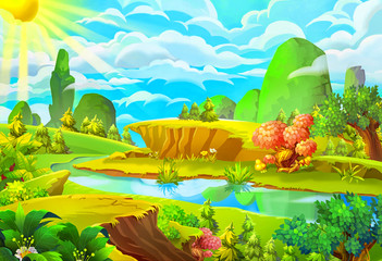 Illustration: The Sun and the River. Cartoon Style. Nature Topic. Scene / Wallpaper / Background Design.