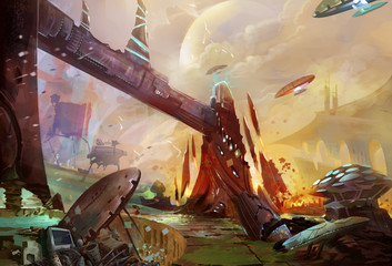 Illustration: The Future Earth - A Trash Planet - Occupied by Aliens and Robots. Removed the Huge Robot. Realistic Style. Sci-Fi Topic. Scene / Wallpaper / Background Design.
