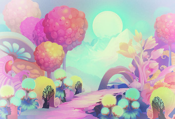 Illustration: The Colorful Forest on the other side of the Snow Mountain with Cold Moon Creeping up the Sky. Version 3: Vintage Style. Realistic / Cartoon Style. Scene / Wallpaper Design.