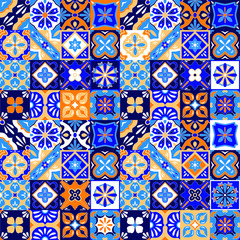 Mexican stylized talavera tiles seamless pattern in blue orange