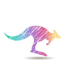 painted kangaroo logo. colors of rainbow