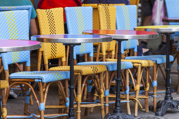 PARIS, FRANCE, on AUGUST 31, 2015. Picturesque summer cafe on the street.