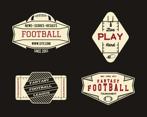 American football field geometric team or league badge, sport site logo, label, insignia set. Graphic vintage design for t-shirt, web. Colorful print isolated on a dark background. Vector