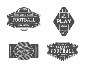 American football field geometric team or league badge, sport site logo, label, insignia set. Graphic vintage design for t-shirt, web. Monochrome print isolated on a white background. Vector