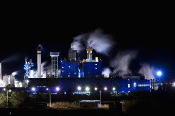Night view of a factory