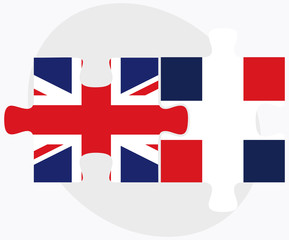 United Kingdom and Dominican Republic Flags