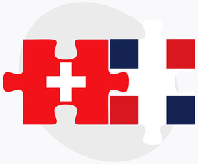 Switzerland and Dominican Republic Flags