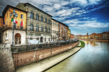 Arno banks seen from Pisa riverfront in hdr