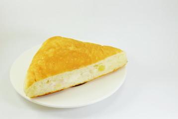 triangle bread filling tuna on dish