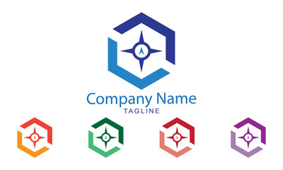 Compass Logo with five color options