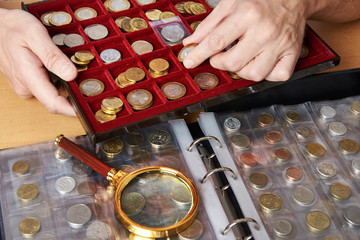 Numismatist with his collection of coins