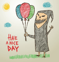 Vector funny image of children's drawings of death in the black robe with multi-colored balloons in his hand on a light background, as if painted with colored pencils.