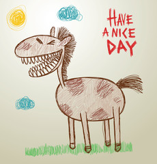 Vector funny image of children's drawings horse with teeth on a light background, as if painted with colored pencils. The text is written in the curves